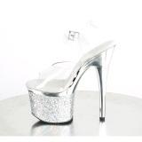 Transparante hakken 18 cm ESTEEM-708CHLG plateau pole dance sandalen zilveren