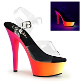Transparent 15 cm RAINBOW-208UV High Heeled Sandal Neon Platform