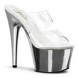 Transparent 18 cm ADORE-702 Chrome Platform Mules Shoes