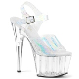 Transparent 18 cm ADORE-708N-CK Hologram platform high heels shoes