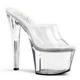 Transparent 18 cm PLEASER SKY-301 Platform Mules Shoes
