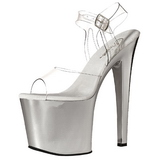 Transparent 19 cm TABOO-708 Chrome Platform High Heels Shoes