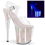 Transparent 20 cm FLAMINGO-808UVG glitter platform high heels shoes