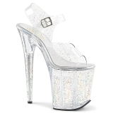Transparent 20 cm Pleaser FLAMINGO-808MMG glitter high heels shoes