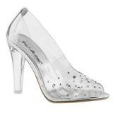Transparent Crystal 10,5 cm CLEARLY-420 High Heeled Evening Pumps Shoes