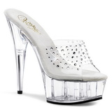 Transparent Rhinestone 15,5 cm DELIGHT-601RS Platform Mules Shoes
