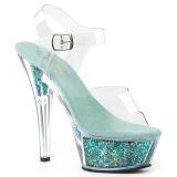 Turquoise 15 cm KISS-208GF glitter plateau sandalen met hak