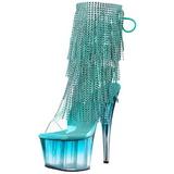 Turquoise 18 cm ADORE-1017RSFT dames enkellaarsjes met franjes
