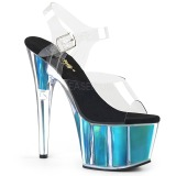 Turquoise 18 cm ADORE-708HGI Hologram plateau schoenen dames met hak