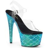 Turquoise 18 cm ADORE-708MSLG glitter plateau sandalen met hak