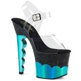 Turquoise 18 cm SCALLOP-708-2HGM Hologram plateau schoenen dames met hak