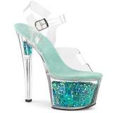 Turquoise 18 cm SKY-308GF glitter plateau sandalen met hak