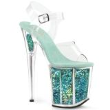 Turquoise 20 cm FLAMINGO-808GF glitter hoge hakken schoenen pleaser