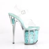 Turquoise 20 cm FLAMINGO-808GF glitter plateau schoenen dames met hak