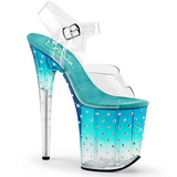 Turquoise 20 cm STARDUST-808T Acrylic Platform High Heeled Sandal