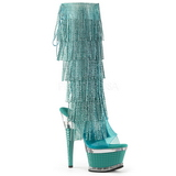 Turquoise Strass 16,5 cm ILLUSION-2017RSF dames laars met franjes