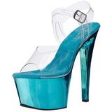 Turquoise Transparant 18 cm SKY-308 Plateau Hoge Hakken