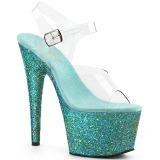 Turquoise glitter 18 cm Pleaser ADORE-708LG paaldans schoenen met hoge hakken