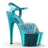 Turquoise glitter 18 cm Pleaser ADORE-709MMRS paaldans sandalen met hoge hakken
