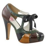 Veelkleurig 11,5 cm retro vintage BETTIE-19 damesschoenen met hoge hak