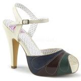Veelkleurig 11,5 cm retro vintage BETTIE-27 Pinup sandalen met verborgen plateauzool