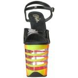 Veelkleurig Neon 20 cm Pleaser FLAMINGO-809UVLN Plateau Hoge Hakken