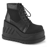 Vegan 12 cm STOMP-10-1 demonia sleehakken boots met plateau zwart
