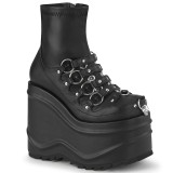 Vegan 15 cm WAVE-110 plateau wedge ankle booties