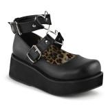 Vegan 6 cm DEMONIA SPRITE-02 Black gothic mary jane pumps