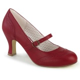 Vegan 7,5 cm FLAPPER-32 retro vintage maryjane pumps rood