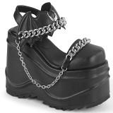 Vegan Black 15 cm Demonia WAVE-20 lolita platform wedge sandals