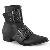 Vegan WARLOCK-55 demonia pointed boots - mens winklepicker boots 2 buckles