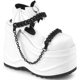 Vegan White 15 cm Demonia WAVE-20 lolita platform wedge sandals