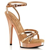 Vegan goud rose hakken 15 cm SULTRY-638 fabulicious sandalen hoge hakken