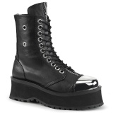 Vegan leather GRAVEDIGGER-10 demonia ankle boots - steel toe combat boots