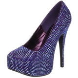 Violet Rhinestone 14,5 cm TEEZE-06R Platform Pumps Women Shoes