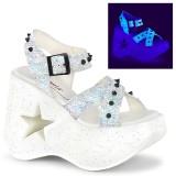 White 13 cm Demonia DYNAMITE-02 lolita sandals wedge sandals