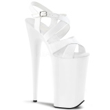 White 25,5 cm BEYOND-097 Platform High Heels Shoes