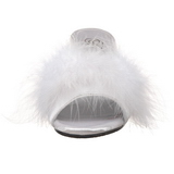 White Feathers 8 cm BELLE-301F High Women Mules Shoes for Men