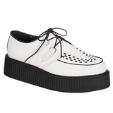 White Leather 5 cm CREEPER-402 Platform Mens Creepers Shoes