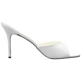 White Leatherette 10 cm CLASSIQUE-01 big size mules shoes