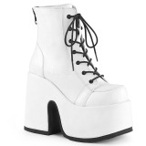White Leatherette 13 cm DEMONIA CAMEL-203 goth ankle boots