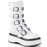 White Leatherette 5 cm EMILY-330 womens buckle boots with platform