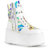 White Leatherette 9 cm DAMNED-115 ankle boots with buckles