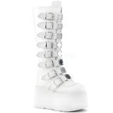 White Leatherette 9 cm DAMNED-318 womens buckle boots with platform