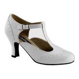 White Matte 7,5 cm FLAPPER-26 Women Pumps Shoes Flat Heels