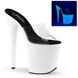 White Neon 20 cm FLAMINGO-801UV Platform Mules Shoes