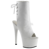 White Patent 18 cm Pleaser ADORE-1018 Platform Ankle Calf Boots