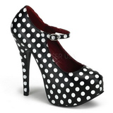 White Points 14,5 cm Burlesque TEEZE-08 Black Platform Pumps Shoes