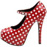 White Points 14,5 cm Burlesque TEEZE-08 Red Platform Pumps Shoes